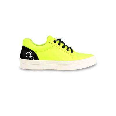 Tenis Plataforma con Agujeta Bicolor en Color Limón