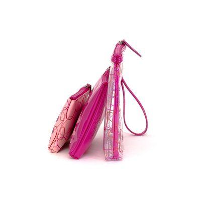 Cosmetiquera 3 en 1 Cloe by Agatha Ruiz de la Prada con Corazones en Color Rosa