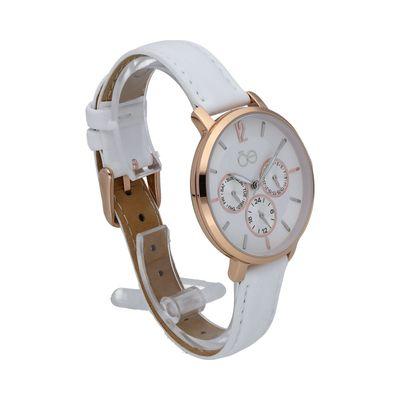 Reloj Clásico con Extensible en Piel en Color Blanco