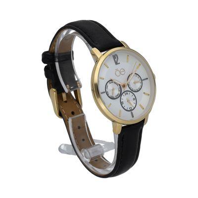Reloj Clásico con Extensible en Piel en Color Negro
