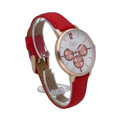 Reloj Clásico con Extensible en Piel en Color Rojo