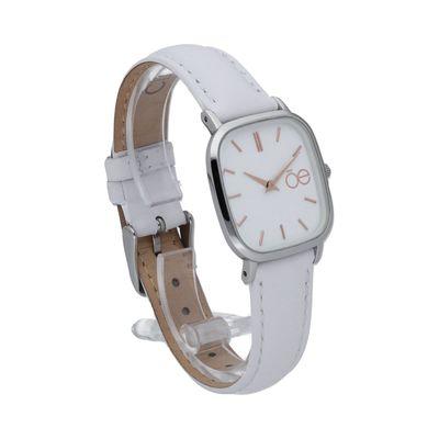 Reloj de Carátula Cuadrada y Minimalista con Extensible de Piel en Color Blanco