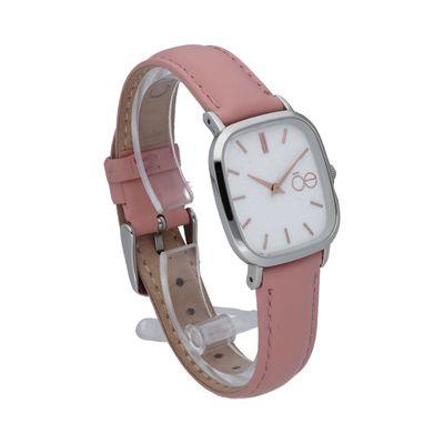Reloj de Carátula Cuadrada y Minimalista con Extensible de Piel en Color Rosa