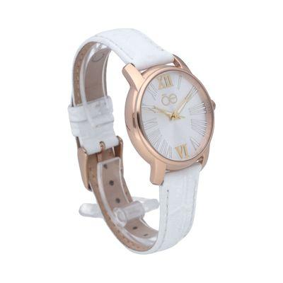 Reloj Clásico con Numerales Romanos y Extensible de Piel Genunina en Color Blanco