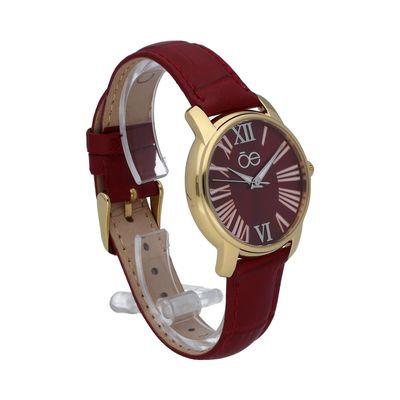 Reloj Clásico con Numerales Romanos y Extensible de Piel Genunina en Color Rojo