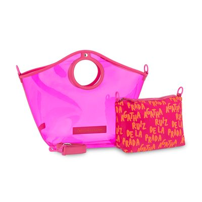 Bolsa Tote Cloe by Agatha Ruiz de la Prada con Transparencia en Color Magenta