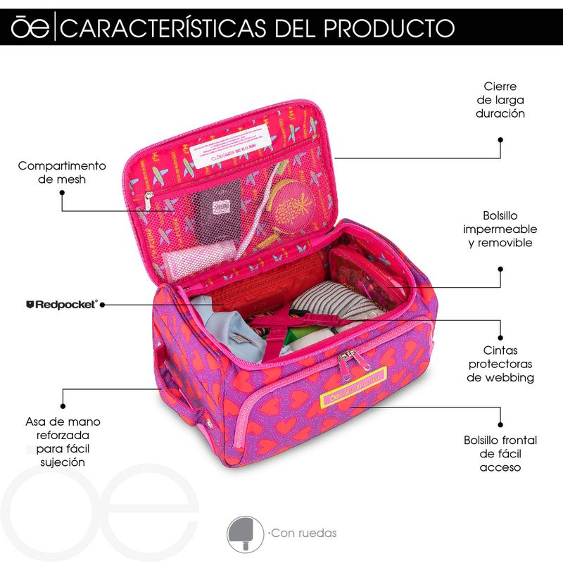 Maleta-Duffle-Bag-con-Ruedas-16--Cloe-by-Agatha-Ruiz-de-la-Prada-con-Estampado-Corazones-en-Color-Magenta-|-Cloe