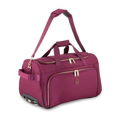 Duffle Bag con Ruedas Detalles Metálicos en Color Tinto