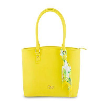 Bolsa Tote con Mascada Color Amarillo Limon
