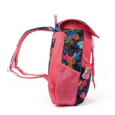 Mochila Cloe Girls Rosa con Estampado Tropical y Cierres