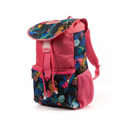 Mochila Cloe Girls Rosa con Estampado Tropical y Cierres