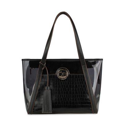 Bolsa Tote con Acabado de Vipera y Transparencia en Color Negro