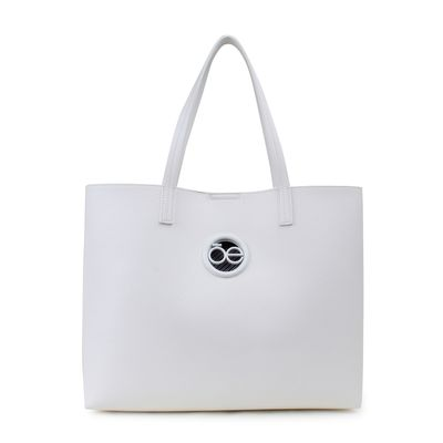 Bolsa Tote con Bolsillo Interno en Color Blanco