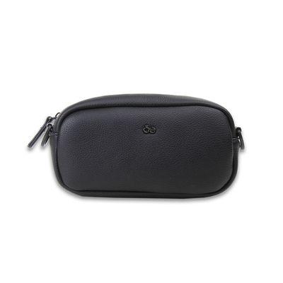 Bolsa Crossbody con Asa Estampada de Trama Icónica en Color Negro