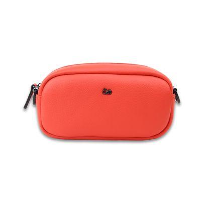 Bolsa Crossbody con Asa Estampada de Trama Icónica en Color Naranja