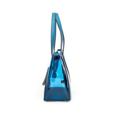 Bolsa Tote con Acabado de Vipera y Transparencia en Color Azul