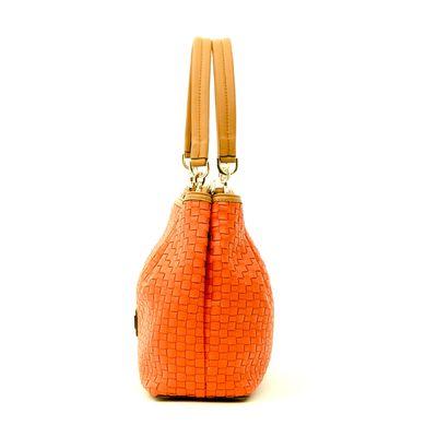Bolsa Satchel con Acabado Tejido en Color Naranja