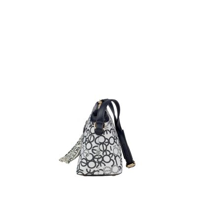 Bolsa Crossbody Estampado con Colgante de Flecos en Color Marino-Multicolor