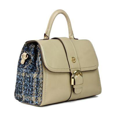 Briefcase con Tweed en Color Beige