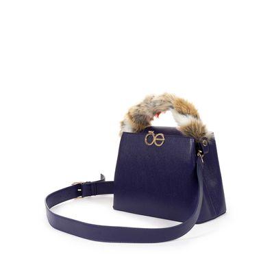 Bolsa Satchel con Asa de Pelo en Color Azul Eléctrico