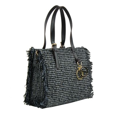 Bolsa Satchel en Tejido Tweed en Color Negro