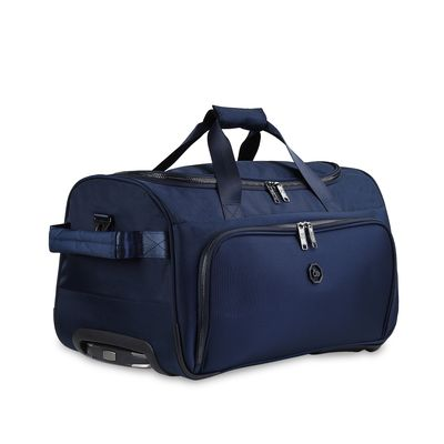Duffle Bag con Ruedas Detalles Metalicos en Color Marino