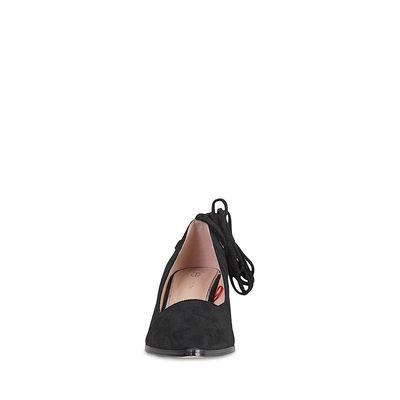 Zapatilla Puntal de Gamuza y Amarre tipo Alpargata en Color Negro