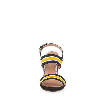 Sandalia Tacon Grueso y Straps Multicolor en Color Amarillo