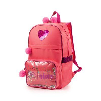 Mochila Porta Laptop Cloe Girls con Estrellas y Pompones en Color Coral