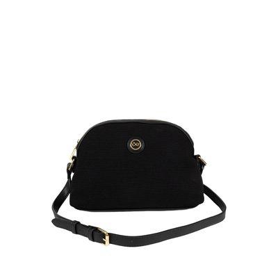 Bolsa Crossbody De Material Textil Con Textura A Rayas Color Negro