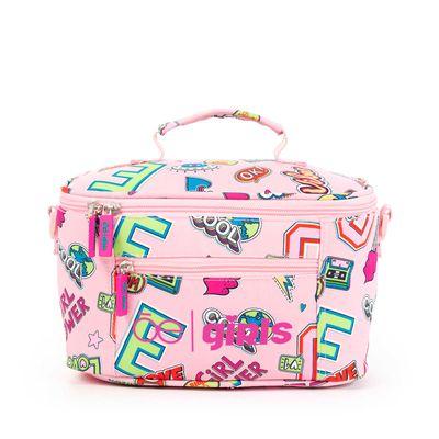 Lonchera Cloe Girls Rosa Con Estampado Colorido Y Colgante Decorativo