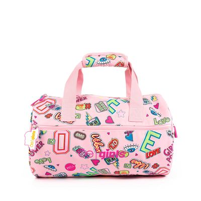 Mochila Duffle Bag Cloe Girls Rosa Con Estampado Colorido Y Colgante Decorativo
