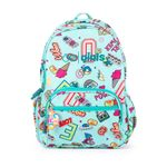 Mochila-Porta-Laptop-14-Pulgadas-Cloe-Girls-Menta-con-Estampado-Colorido-y-Colgante-Decorativo-en-Color-Menta-|-Cloe