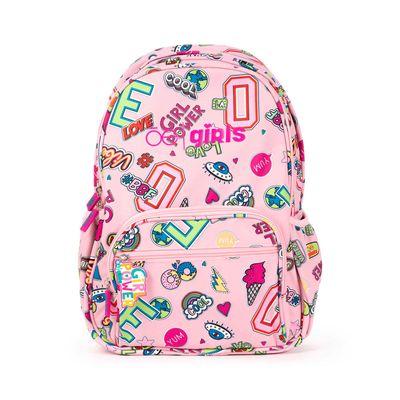 Mochila Porta Laptop 14 Pulgadas Cloe Girls Rosa Con Estampado Colorido Y Colgante Decorativo