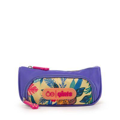 Porta Lápices Cloe Girls Morada Con Estampado Tropical Y Múltiples Bolsillos