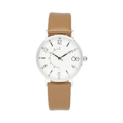 Reloj Cloe Casual Con Caja De Acero Inoxidable, Delgada Y Extensible De Piel Genuina