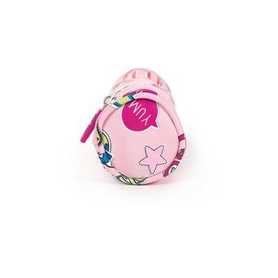 Porta Lápices Cloe Girls Rosa Con Estampado Colorido Y Colgante Decorativo