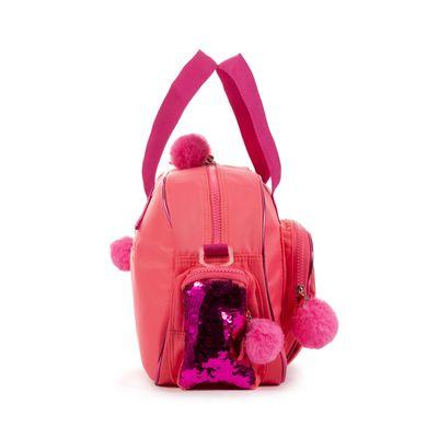 Mochila Duffle Bag Cloe Girls Coral Con Lentejuelas Y Pompones