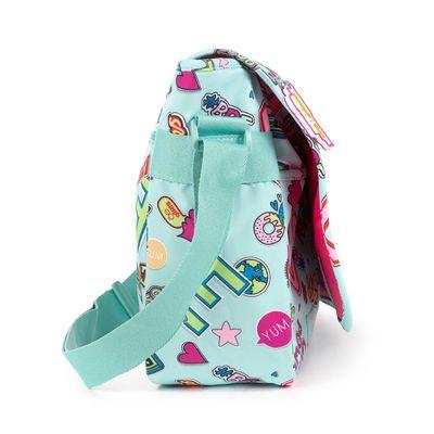 Mensajera Cloe Girls Menta Con Estampado Colorido Y Colgante Decorativo
