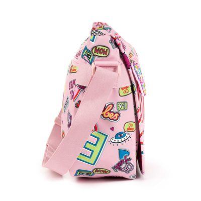 Mensajera Cloe Girls Rosa Con Estampado Colorido Y Colgante Decorativo