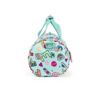 Mochila Duffle Bag Cloe Girls Menta Con Estampado Colorido Y Colgante Decorativo