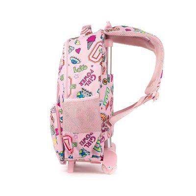 Mochila Con Ruedas Cloe Girls Rosa Con Estampado Colorido Y Colgante Decorativo