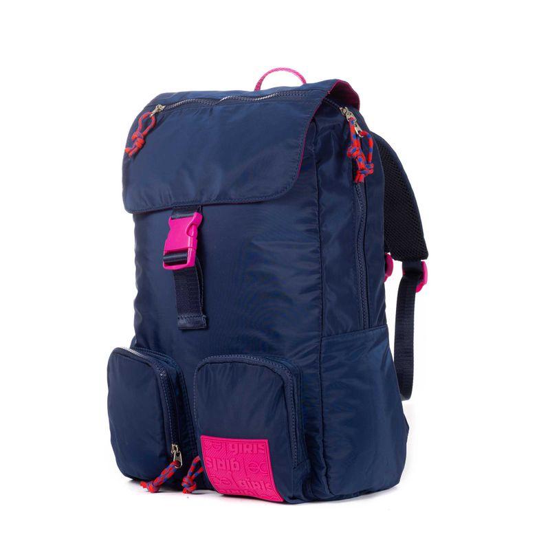 Mochila-Porta-Laptop-14-Pulgadas-Cloe-Girls-Azul-con-Bolsillos-y-Broche-al-Frente-en-Color-Marino-|-Cloe