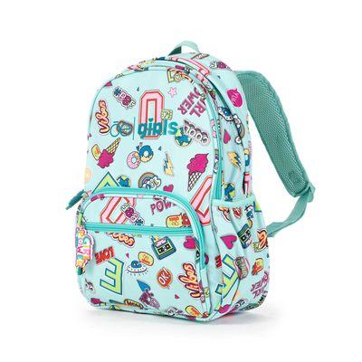 Mochila Porta Laptop 14 Pulgadas Cloe Girls Menta Con Estampado Colorido Y Colgante Decorativo