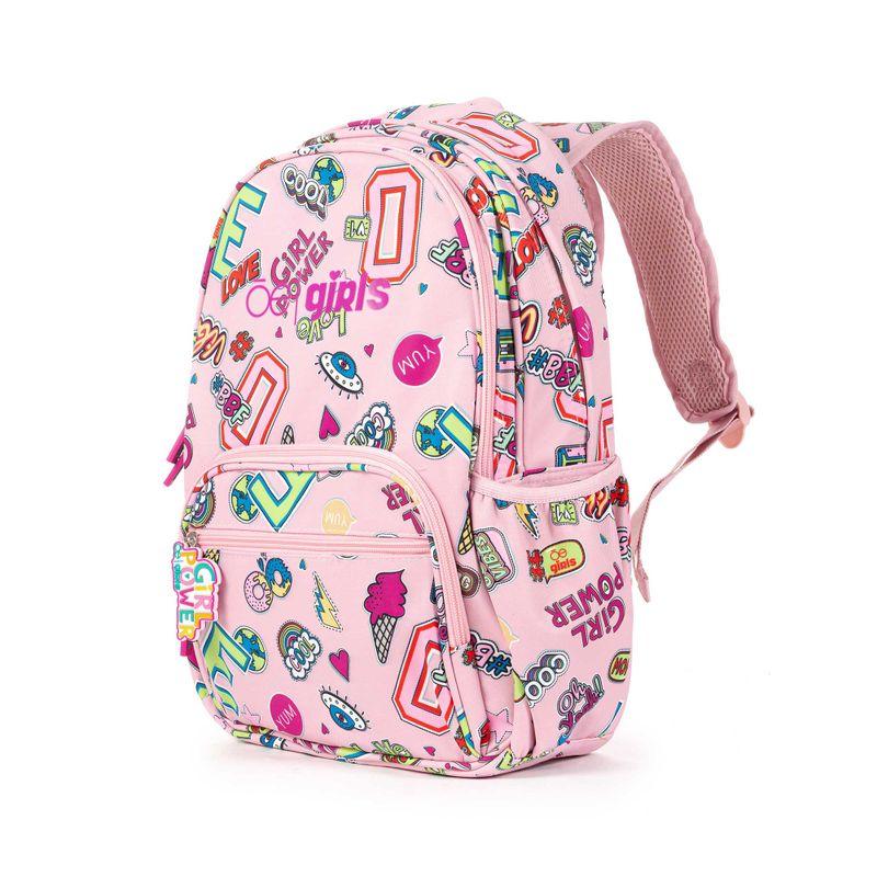 Mochila-Porta-Laptop-14-Pulgadas-Cloe-Girls-Rosa-con-Estampado-Colorido-y-Colgante-Decorativo-en-Color-Rosa-|-Cloe
