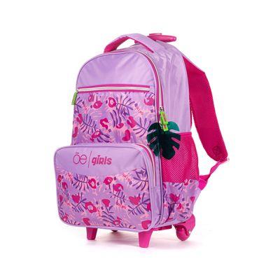 Mochila Con Ruedas Cloe Girls Con Estampado Rosa Y Morado Con Colgante Decorativo