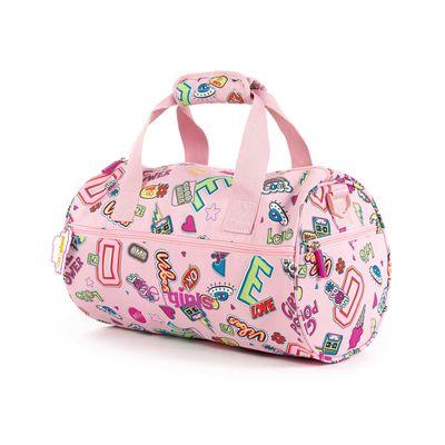 Mochila Duffle Bag Cloe Girls Rosa Con Estampado Colorido Y Colgante Decorativo