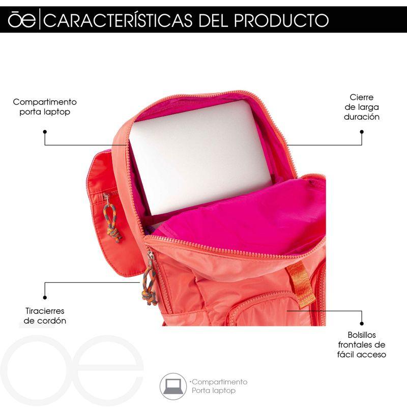 Mochila-Porta-Laptop-14-Pulgadas-Cloe-Girls-Coral-con-Bolsillos-y-Broche-al-Frente-en-Color-Coral-|-Cloe