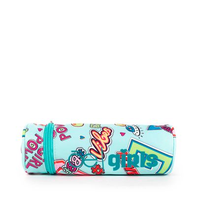 Porta Lápices Cloe Girls Menta Con Estampado Colorido Y Colgante Decorativo