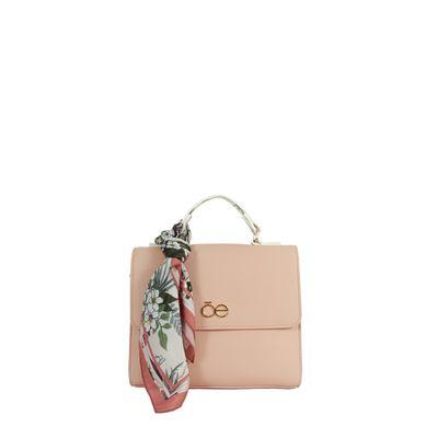 Bolsa Briefcase con Mascada de Flores en Color Nude
